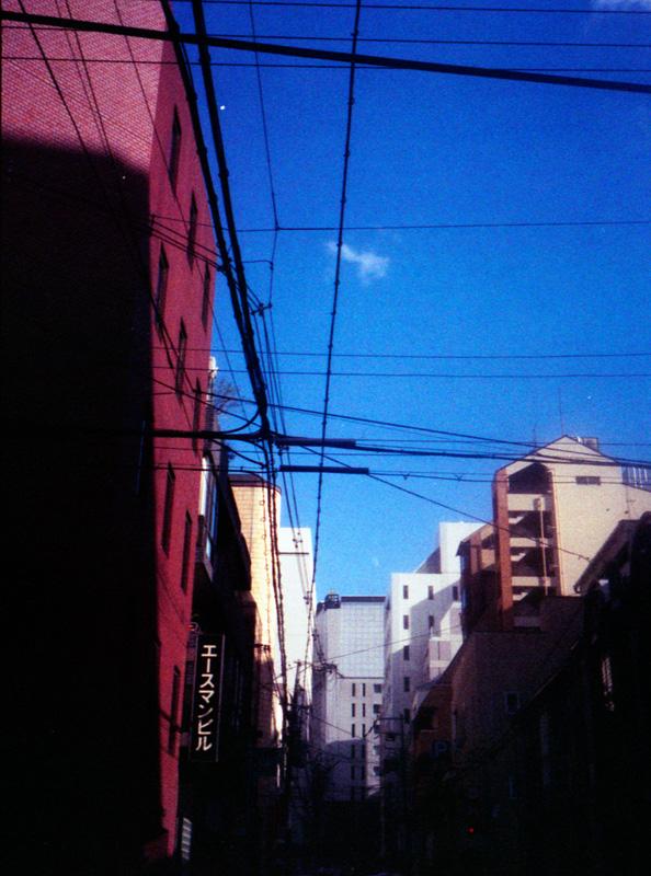 裏道から見上げた空